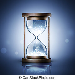 hourglass with shining light on dark blue background