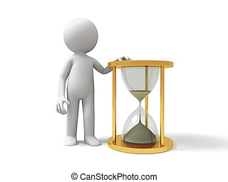 Hourglass,time - A people standing with a hourglass