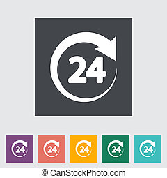 Hours 24 - 24 hours. Single flat icon. Vector illustration.