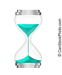 hours glass - blue,silver hours glass isolated over white...