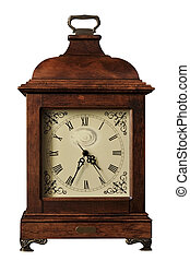 Hours wooden ancient on the white isolated background