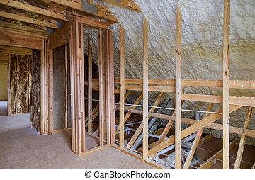 house., ático, aislamiento, plástico, marco, nuevo, installed, espuma, inclinar