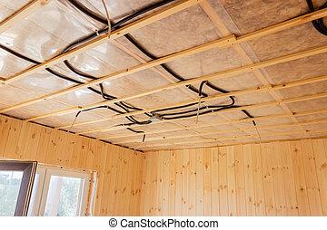 house., électrique, construction., electrician., bois, fils, plafond