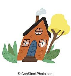 house., דירה, סקנדינבי, סיגנון, דוגמה, לבנה, ציור היתולי, חמוד