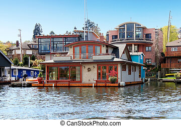 house., れんが, ワシントン, 湖, ボート