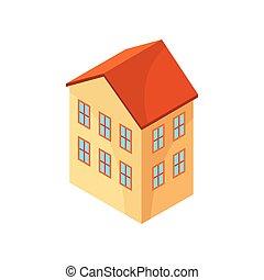 house., 描述, 背景。, 矢量, 原色哔叽, 模型, 白色, 两故事
