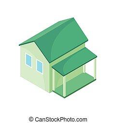 house., 描述, 背景。, 矢量, 绿色, 模型, 白色