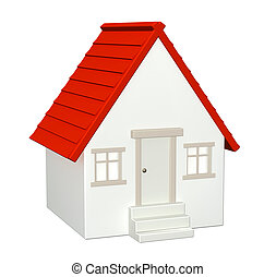 House  - 3d house - isolated over white
