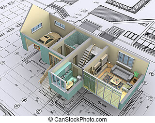 House. - 3D isometric view the cut residential house on ...