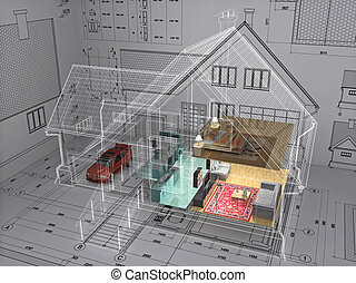House. - 3D isometric view the residential house on...