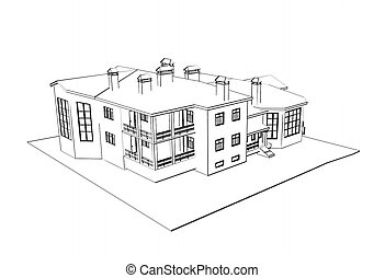 house: 3d technical draw - architecture 3d technical draw...