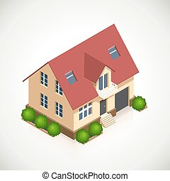 House 3d vector icon with green bushes