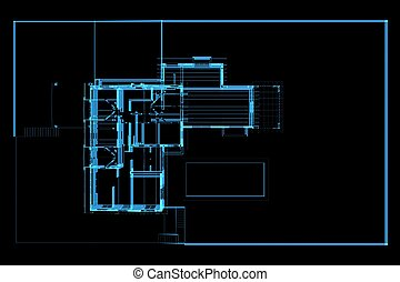 House 3D xray blue transparent