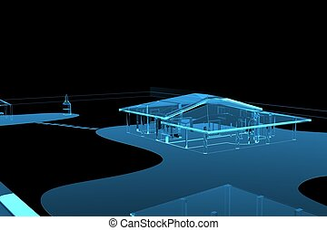 House (3D xray blue transparent)