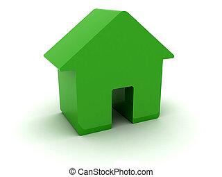 house., 3d, zielony