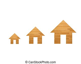 House - A house symol cut out using a wooden background