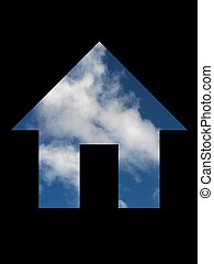 House - A house symol cut out with a blue sky