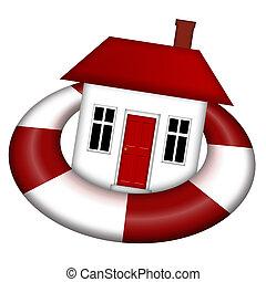 House Afloat on Lifesaver - House Staying Afloat on...