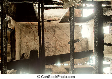 shooting from inside a burnt interior
