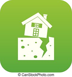 House after an earthquake icon digital green for any design...