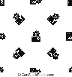 House after an earthquake pattern seamless black