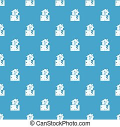 House after an earthquake pattern seamless blue