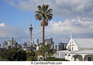 House against Auckland city skyline New Zealand