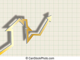 house against chart of real estate market