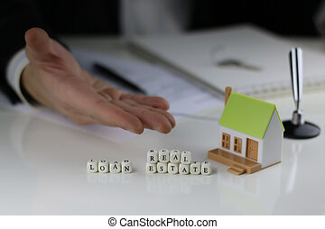 House Agents hands a contract loan mortgage