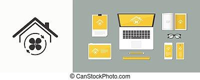 House air conditioner - Vector web icon
