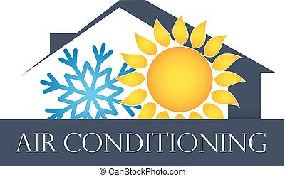 House air conditioning and ventilation symbol. Red and blue...