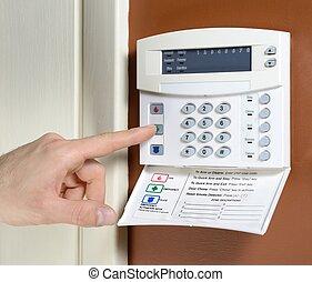 House alarm - key pad on a house alarm