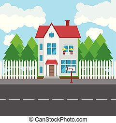 House along the road. Part of the rural and urban landscape. Vector illustration in flat style.