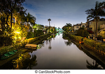 House along the Venice Canals at night, in Venice Beach, Los...