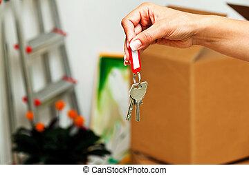 house., amikor, mozgató, kulcs
