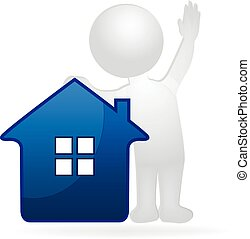 House and agent 3D white people man. Real Estate concept logo vector