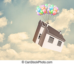 House And Balloon In Sky