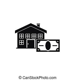 House and banknote icon, simple style