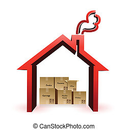 house and boxes illustration design