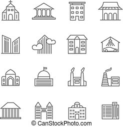 House and building vector line icons. Real estate outline symbols