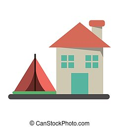 house and camping tent