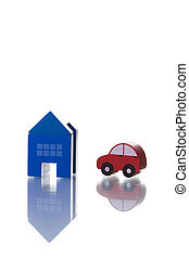 House and Car - a house and car toy isolated on white with...