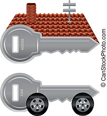 House and car keys - Graphic keys for house and car keys...