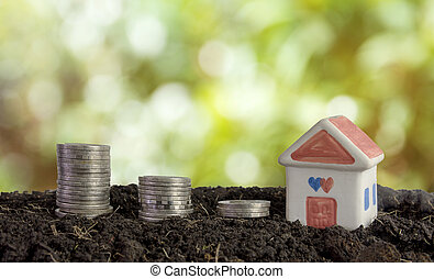 house and coins in soil, saving money to build a house concept