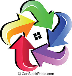 House and colored arrows logo
