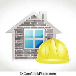 house and construction helmet illustration design over a...