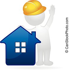 House and constructor 3D white people man. Real Estate concept logo vector