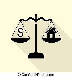 House and dollar symbol on scales. Black icon with flat style shadow path on cream background.