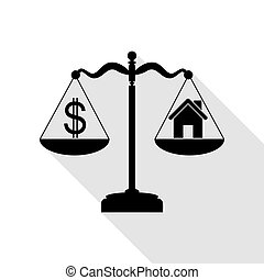 House and dollar symbol on scales. Black icon with flat style shadow path.