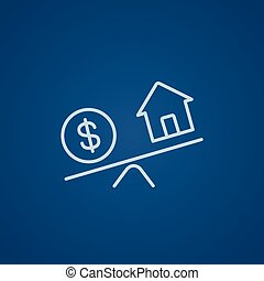 House and dollar symbol on scales line icon. - House and ...